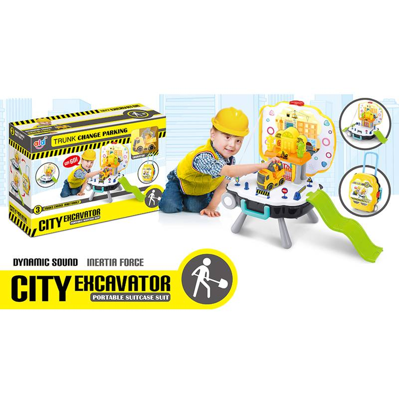 Pretend play toys_Suitcase city excavator parking set TTR1480